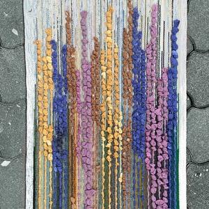 Gyapjú falikép SZ21002, Otthon & Lakás, Kép & Falikép, Dekoráció, Szivárvány színű Virágmező mintás gyapjú faliszőnyeg, szövetcsíkokkal díszítve, TIMIM tervezésben és..., Meska