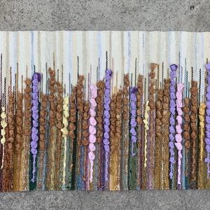 Gyapjú falikép SZ30007, Otthon & lakás, Lakberendezés, Lakástextil, Szőnyeg, Falikép, Szövés, Színes virágmező mintás gyapjú falikép ( kicsi falvédő ), szövetcsíkokkal díszítve, TIMIM tervezésbe..., Meska
