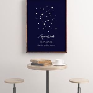 Aquarius csillagjegy, falikép, poszter - otthon & lakás - dekoráció - kép & falikép - Meska.hu