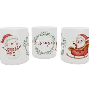 Névreszóló karácsonyis, télapós bögre, hóemberes bögre, Otthon & Lakás, Konyhafelszerelés, Bögre & Csésze, Decoupage, transzfer és szalvétatechnika, Fotó, grafika, rajz, illusztráció, Bögrére mindig szükség van.\n\nÉlvezd a kedvenc italod a világ egyik legcukibb börgéjéből kortyolgatva..., Meska
