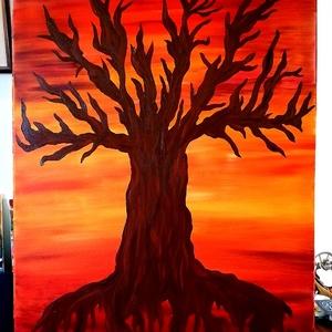 Szavanna fája, Művészet, Festmény, Akril, Festészet, Ezt az ötletet először otthoni szobaajtóüveg dekorálására készítettem, majd azt gondoltam, kis hátté..., Meska