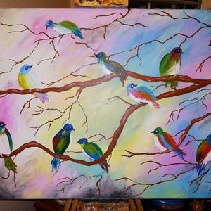Madarak hada, Művészet, Festmény, Akril, Festészet, Két apró kis madárkám adta az ihletet. :)\n\n50x70 cm, akrilfestmény.  Más méretben is rendelhető...., Meska