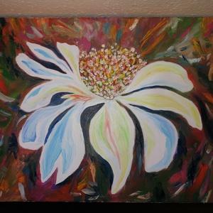 Virágba borulva, Művészet, Festmény, Olajfestmény, Festészet, Egyik kedvenc témám a tavasz és a virágok, ebben az esetben egy absztrakt megformálásban festettem.\n..., Meska