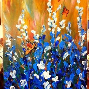 Libbenés, Művészet, Festmény, Akril, Festészet, Azért is a kedvenc témám a tavasz, virágok, pillangók, és hasonlók, mert azon kívül, hogy gyönyörűek..., Meska