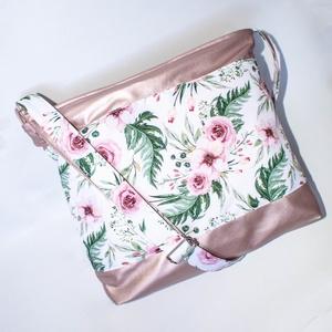 Rose gold, virágos oldaltáska, Táska & Tok, Kézitáska & válltáska, Vállon átvethető táska, Varrás, Meska