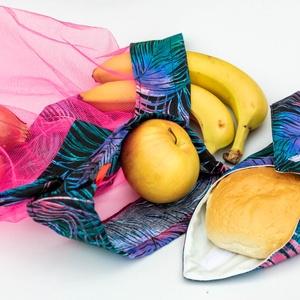 Neon pink zero waste szett, Zöldség/Gyümölcs zsák, Bevásárlás & Shopper táska, Táska & Tok, Varrás, Neon pink - fekete zero waste szett, mely egy újraszalvétából és három különböző méretű zöldséges/gy..., Meska