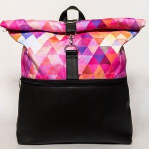 Geometriai mintás pink roll up táska - vízhatlan, Táska & Tok, Hátizsák, Roll top hátizsák, Varrás, Meska