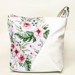 Fehér, hullámos oldaltáska virágmintával, Táska & Tok, Kézitáska & válltáska, Vállon átvethető táska, Varrás, Meska