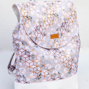 Geometrikus hátizsák márvány mintával - vízhatlan, Ovi- és sulikezdés, Iskolatáska, Varrás, Meska
