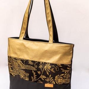 Anya-lánya táskaszett: fekete-arany, virágmintás - táska & tok - kézitáska & válltáska - vállon átvethető táska - Meska.hu