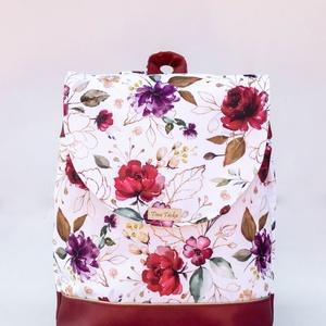 Bordó - fehér, virágos hátizsák, Táska & Tok, Hátizsák, Hátizsák, Varrás, Meska