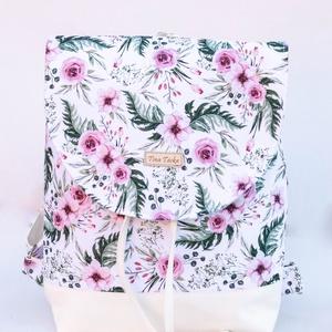 Fehér hátizsák rózsaszín virágokkal, Táska & Tok, Hátizsák, Hátizsák, Varrás, Meska