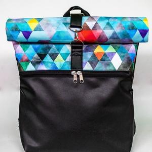 Kék, geometriai mintás roll up táska, Táska & Tok, Hátizsák, Roll top hátizsák, Varrás, Meska