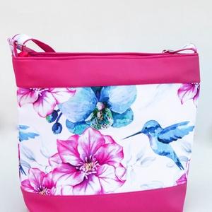 Kolibris oldaltáska - pink, Táska & Tok, Kézitáska & válltáska, Vállon átvethető táska, Varrás, Meska