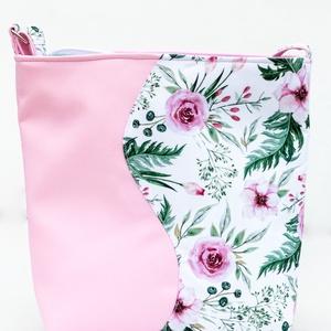 Rózsaszín, hullámos oldaltáska virágmintával, Táska & Tok, Kézitáska & válltáska, Vállon átvethető táska, Varrás, Meska