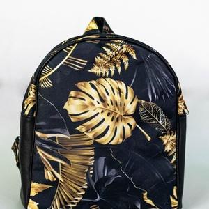 Kis méretű hátizsák - fekete, arany pálmalevelekkel, Táska & Tok, Hátizsák, Kishátizsák, Varrás, Meska