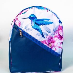 Egyedi hátitáska - kolibri- és virágmintás, Táska & Tok, Hátizsák, Hátizsák, Varrás, Meska