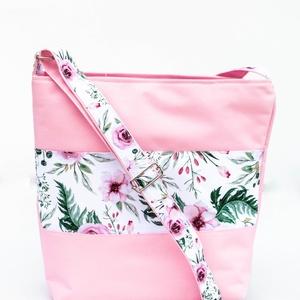 Rózsaszín, virágos kis oldaltáska, Táska & Tok, Kézitáska & válltáska, Vállon átvethető táska, Varrás, Meska