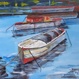 Csónakok az öbölben, Művészet, Festmény, Akril, Festészet, A 30 x 25 cm-es vászon és akril képen a csónakokon és tükröződésein van a hangsúly. A festő a képpel..., Meska