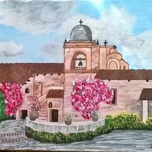Misszió Kaliforniában, Művészet, Festmény, Akril, Festészet, A 30 x 25 cm - es feszített vászon és akril kép a kaliforniai kellemes és napsütötte időben ábrázolj..., Meska