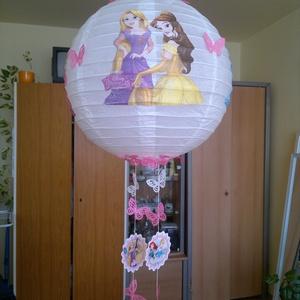 Hercegnős lámpa búra , Gyerek & játék, Dekoráció, Otthon & lakás, Gyerekszoba, Lakberendezés, Decoupage, transzfer és szalvétatechnika, Hercegnős rizs lámpa búra 40 cm átmérőjű gyerekszobába., Meska
