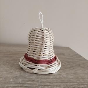 Karácsonyfadísz, Karácsony & Mikulás, Karácsonyfadísz, Fonás (csuhé, gyékény, stb.), Natúr ès bordó 2 mm-es peddignádból készítettem ezt a harangot. Kb 7 cm magas., Meska
