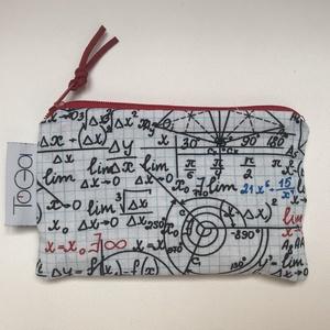 Matek mintás pici neszesszer, pénztárca, irattartó, kártyatartó / Pedagógus napi ajándék, Táska & Tok, Pénztárca & Más tok, Pénztárca, Varrás, Matek vagy geometria mintás pamutvászonból varrtam ezt a cipzáras neszesszert. Mindennapi használatr..., Meska