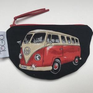 Volkswagen busz mintás pénztárca / VW buszos kártyatartó, Táska & Tok, Pénztárca & Más tok, Pénztárca, Varrás, Piros VW busz mintás pamutvászonból varrtam ezt a cipzáras pénztárcát. Maszkokat is varrtam ebből az..., Meska