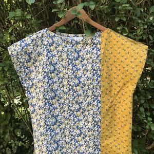 Alíz blúz egyedi textilkombinációkkal / Mintás felső, top, póló, Ruha & Divat, Női ruha, Blúz, Varrás, Meska
