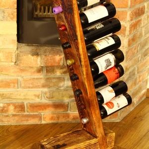 Bortartó, Rusztikus bortartó, Otthon & lakás, Lakberendezés, Tárolóeszköz, Rusztikus bortartó 8 üveg bor tárolásához. A fa textúrája a speciális felületkezelésnek köszönhetően..., Meska