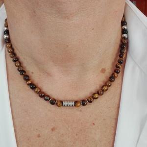 Tigrisszem nyaklánc, Ékszer, Nyaklánc, Férfiaknak, Ékszer, kiegészítő, Ékszerkészítés, 6mm-es tigrisszem gyöngyökből nemesacél kiegészítőkkel készült uniszex nyaklánc. Minden fém alkatrés..., Meska