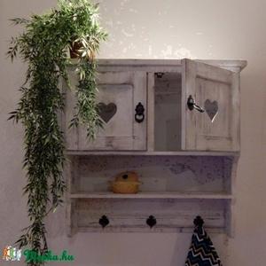 Egyedi fali kisszekrény-polc, Bútor, Otthon & lakás, Szekrény, Konyhafelszerelés, Lakberendezés, Famegmunkálás, Festett tárgyak, Egyedileg készített fali kisszekrény. Antikolt dekoratív darab.\n\nMéretei:\n Magasság 60 cm\n Hossz: 60..., Meska