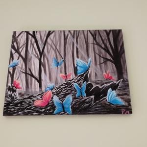 Pillangók az erdőben, Dekoráció, Otthon & lakás, Képzőművészet, Festmény, Festészet, Pillangók az erdőben c. festményem érdekes színfoltja lehet bármely helyiségnek nemcsak nappal,de éj..., Meska