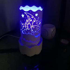 """Unikornisos lámpa, Otthon & Lakás, Lámpa, Hangulatlámpa, Gravírozás, pirográfia, Pvc-csőből gravírozó készülék segítségével készült vidám, hangulatos, \""""Unikornis\"""" mintás lámpa.(kb. ..., Meska"""