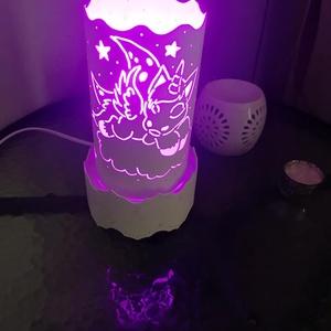 """Unikornisos lámpa, Karácsony & Mikulás, Gravírozás, pirográfia, Pvc-csőből gravírozó készülék segítségével készült vidám, hangulatos, \""""Unikornis\"""" mintás lámpa.(kb. ..., Meska"""