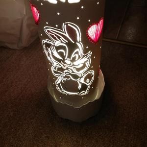 Nyuszis lámpa, Hangulatlámpa, Lámpa, Otthon & Lakás, Gravírozás, pirográfia, Pvc-csőből gravírozó készülék segítségével készült vidám, hangulatos, nyuszika mintás lámpa.(kb. 20-..., Meska