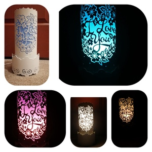 I love you feliratos lámpa, Otthon & Lakás, Lámpa, Hangulatlámpa, Gravírozás, pirográfia, Pvc csőből készült hangulatos, egyedi lámpa. \nA lámpában E27-es foglalatú ledes izzó használható.\n\n(..., Meska