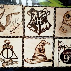 Harry Potter-poháralátét szett, Otthon & Lakás, Konyhafelszerelés, Pohár, Gravírozás, pirográfia, Egyedi mintás, Harry Potter-es poháralátét-szett. (6 db-os kiszerelés).\nPirográf készülékkel, kézzel..., Meska