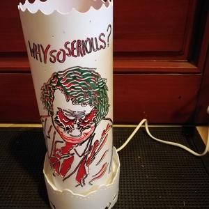Joker-es lámpa, Otthon & Lakás, Lámpa, Hangulatlámpa, Gravírozás, pirográfia, A következő lámpámat kifejezetten a Joker rajongüknak ajánlom. Szerettem volna valami igazán egyedit..., Meska