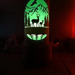 Szarvasos - erdős lámpa, Otthon & Lakás, Lámpa, Hangulatlámpa, Gravírozás, pirográfia, Szarvasos erdős lámpa pvc csőből.\nA minta egy multicsiszoló eszközzel készült.\nA lámpa E27 es foglal..., Meska
