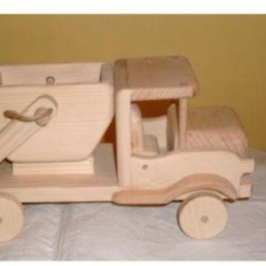 Konténeres autó, Gyerek & játék, Gyerekszoba, Játék, Fajáték, Famegmunkálás, Festhető  fa játék.\nMérete 24cm.\nKonténer levehető.\n, Meska