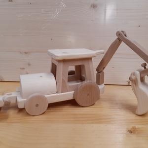Traktor, Gyerek & játék, Játék, Fajáték, Famegmunkálás, Fából készitett, festhetö gurulos fa játék.\nKivehető a markoló ès a tololap ., Meska