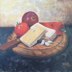 Ritánti festmény, Uzsonna, Akril, Festmény, Művészet, Festészet, Saját fotó alapján festett csendéletem.\n\nAkril farost 25x30 cm. Ebédlőbe ajánlom.\n\nÁra keret nélkül ..., Meska