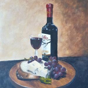 Ritánti festmény, Mediterrán csipegetés, Akril, Festmény, Művészet, Festészet, Saját fotó alapján festett csendéletem.\nKedvelt témám a sajt és a bor :)\n\nAkril, farost 30x25 cm. Eb..., Meska