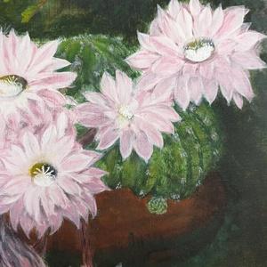 Ritánti festmény, Bokor alatt napfényben, Akril, Festmény, Művészet, Festészet, Saját fotó alapján festett képem.\nElőszobába, nappaliba vidám látvány, aki szereti a kaktuszokat.\nAj..., Meska