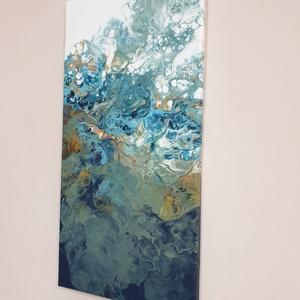 Pouring festmény, Felfelé címmel, Művészet, Festmény, Akril, Festészet, 50x25 cm vászonra akrillal festettem pouring + szilikon technikával. \nA sötétből felfelé törő színek..., Meska