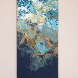 Pouring festmény, Mélységbe címmel, Művészet, Festmény, Akril, Festészet, 50x25 cm vászonra akrillal festettem pouring + szilikon technikával. \nA felülről lefelé törő színek,..., Meska