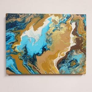 Pouring festmény, Fentről a Föld... címmel, Művészet, Festmény, Akril, Festészet, 30x40 cm vászonra akrillal festettem pouring + szilikon technikával. \nSzámomra hasonlít a festmény a..., Meska