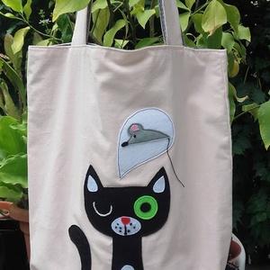 Cica egérkével. Lenvászon cuccolós táska. Felejtsd el a műanyagot! (tozsu11) - Meska.hu