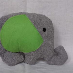 Elefánt párna, Elefánt, Plüssállat & Játékfigura, Játék & Gyerek, Varrás, Minőségi frottír anyagból varrtam ezt a puha Elefáni párnát. A füle és a szeme filc, a farkincája pe..., Meska